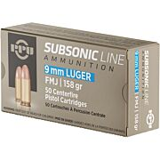 PPU AMMO SUBSONIC 9MM LUGER 158GR. FMJ 50-PACK