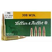 S&B AMMO .308 WINCHESTER 180GR. FMJ 20-PACK