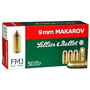 S&B AMMO 9X18MM MAKAROV 95GR. FMJ-RN 50-PACK