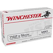 WIN AMMO 7.62x51MM 149GR. FMJ USA TARGET 20-PACK