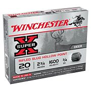 "WIN AMMO SUPER-X SLUGS 20GA. 2.75"" 1600FPS. 3/4OZ. 5-PACK"
