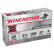 "WIN AMMO SUPER-X 12GA. 2.75"" 1325FPS. #4BK 27-PELLETS 5-PK."