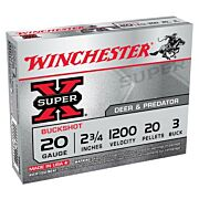 "WIN AMMO SUPER-X 20GA. 2.75"" 1200FPS. #3BK 20-PELLETS 5-PK."