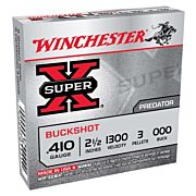 "WIN AMMO SUPER-X .410 2.5"" 1300FPS. 000BK 3-PELLETS 5-PK."