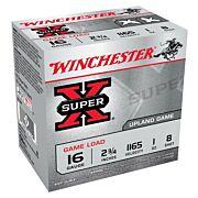 "WIN AMMO SUPER-X 16GA. 2.75"" 1165FPS. 1OZ. #8 25-PACK"
