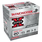 "WIN AMMO SUPER-X 20GA. 2.75"" 1210FPS. 7/8OZ. #8 25-PACK"