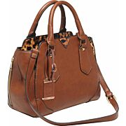 BULLDOG CONCEALED CARRY PURSE SATCHEL CHESTNUT W/ LEOPARD TM