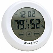 EVA-DRY HYGROMETER WIRELSS INDOOR TEP & HUMIDITY, CLOCK