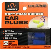 WALKERS EAR PLUGS PVC CORDED FOAM 32dB YELLOW/BLUE 2PAIR