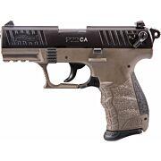 """WALTHER P22 CA .22LR 3.42"""" AS 10-SHOT BLACK SLIDE FDE FRAME"""