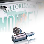 2 MONKEY LICENSE PLATE BOLTS 45 CAL NICKLE 2/PACK