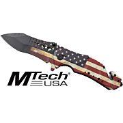 """MC MTECH 3.75"""" DROP POINT FOLDER W/CUTTER US FLAG/SS"""