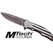 """MC MTECH 3.75"""" DROP POINT FOLDER BLACK/WHITE FLAG SS"""