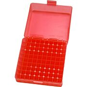 MTM 100 ROUND .17HMR/.22MAG AMMO BOX SEE THROUGH CLEAR RED