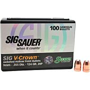 SIERRA BULLETS 9MM .355 124GR JHP SIG V-CROWN 100CT