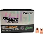 SIERRA BULLETS 9MM .355 125GR JHP SIG V-CROWN 100CT