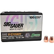 SIERRA BULLETS 9MM .355 90GR JHP SIG V-CROWN 100CT