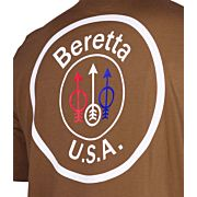 BERETTA T-SHIRT USA LOGO LARGE TOBACCO BROWN