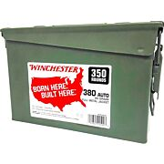WIN AMMO .380ACP (CASE OF 2) 95GR. FMJ-RN AMMO CAN 2/350PKS
