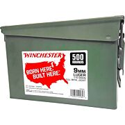 WIN AMMO 9MM LUGER (CASE OF 2) 115GR FMJ-RN AMMO CAN 2/500PKS
