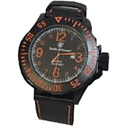 S&W MEN'S EGO WATCH BLACK AND ORANGE LEATHER WRIST STRAP