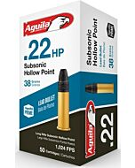 AGUILA AMMO SUBSONIC .22LR 1025FPS. 38GR. LEAD-HP 50-PACK