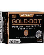 SPEER AMMO GOLD DOT SHORT BBL. .45ACP 230GR. GDHP SHORT 20-PK