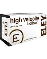 ELEY AMMO HIGH VELOCITY HOLLOW POINT .22LR 38GR. 50-PACK