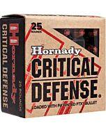 HORNADY AMMO CRITICAL DEFENSE .38 SPECIAL+P 110GR. FTX 25-PK